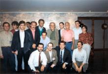 I Congreso Internacional de Música de Cine. El equipo de la revista Música de cine con los compositores José Nieto, Nicola Piovani, Pino Donnagio, Gerald Fried y Mario Nascimbene (1992)