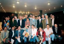 II Congreso Internacional de Música de Cine. El equipo de la revista Música de cine con los compositores Lalo Schifrin, Carlo Rustichelli, Wojciech Kilar y Carlo Savina (1993)