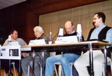 Mesa redonda en la ESMUC (Escola Superior de Música de Catalunya) con los compositores Xavi Capellas, Albert Guinovart y Elmer Bernstein (2002)