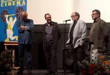 Con el director Mario Camus, el técnico de FX Reyes Abades y Alejandro Pachón, director del Festival Ibérico de Cinema (2012)